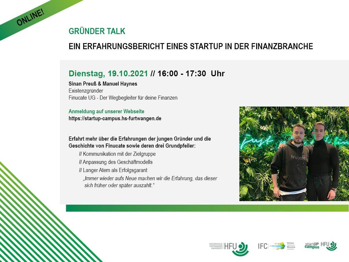 Flyer: Gründer-Talk - ein Erfahrungsbericht Finucate UG 2021